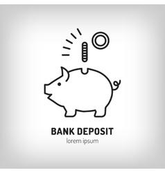 Piggy bank deposit logo Line icon art flat vector image