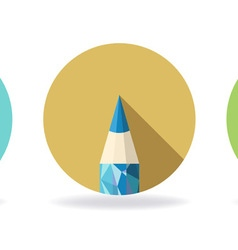 Polygonal Pencil Icons with shadow vector image vector image