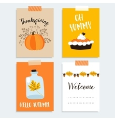 Set of cute hand drawn thanksgiving cards Autumn vector image vector image