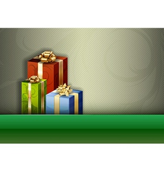 christmas background green stripe gifts vector image vector image