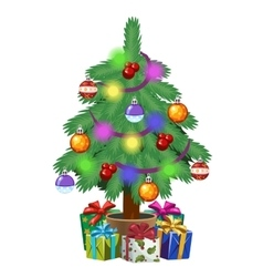 Christmas tree in pot with gifts Holiday symbol vector image