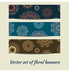 colorful set of floral banners vector image vector image