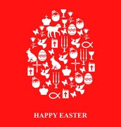 Easter cet egg red vector