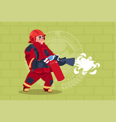 fireman hold extinguisher wearing uniform and vector image vector image