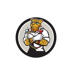 Leopard Heating Specialist Mechanic Circle Cartoon vector image