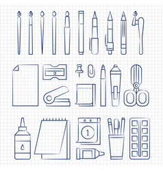 pen drawing office stationery linear icons vector image vector image