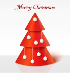 Red christmas tree with balls vector image vector image