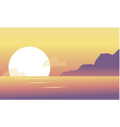 Silhouette of hill and lake at the morning scenery vector