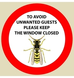 Sticker with Warning sign insect wasp icon Wasp vector image