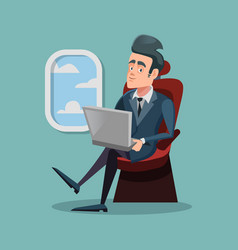 cartoon successful businessman flying in airplane vector image