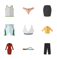 Flat icon dress set of singlet clothes trunks vector
