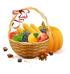 Fruits and vegetables in wicker basket Rich vector image vector image