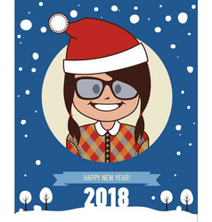 happy new year 2018 card childs greetings vector image