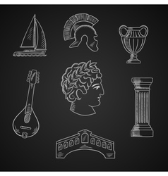Italian culture and travel icons vector image vector image