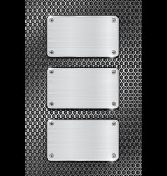 metal brushed plates on iron perforated background vector image vector image
