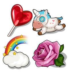 set of heart lollipop unicorn rose and rainbow vector image