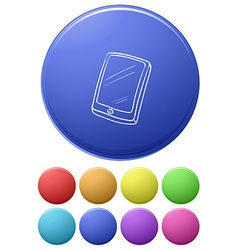 Small buttons and a big button with a cellphone vector image