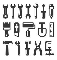 tool icon set on white background vector image