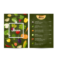 vegetarian restaurant food menu design vector image vector image
