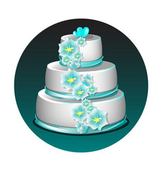 wedding cake with flowers vector image vector image