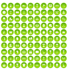 100 awards icons set green circle vector