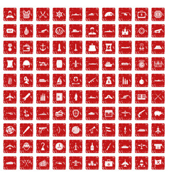 100 combat vehicles icons set grunge red vector