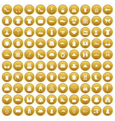 100 sewing icons set gold vector