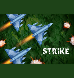 air strike with jet planes firing vector image