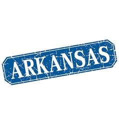Arkansas blue square grunge retro style sign vector image
