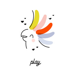 Artistic cheerful cockatoo parrot with rainbow vector