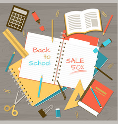 Back to school note pad on table top view vector