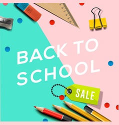 back to school sale banner design with lettering vector image