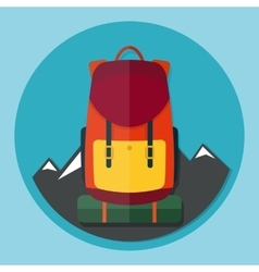 Backpack with mountains flat style vector