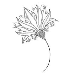 Beautiful Monochrome Contour Flower vector