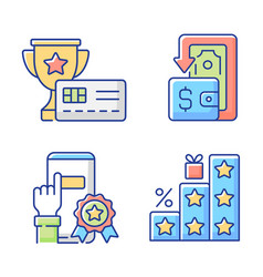 Benefits and refunds rgb color icons set vector