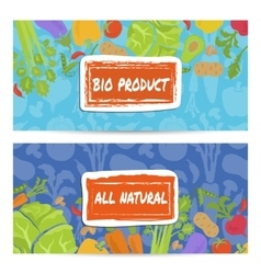Bio product horizontal flyers set vector image