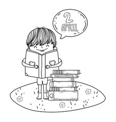 Boy reading book with speech bubble in the camp vector