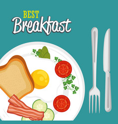 Breakfast concept with food and drinks vector