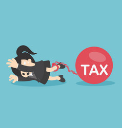 Business woman flattened by ball tax vector