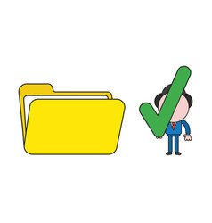 Businessman character holding check mark to open vector