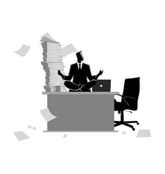 Businessman doing yoga on office table vector