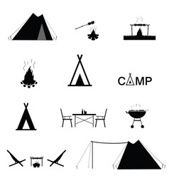 camping set icon in black color vector image