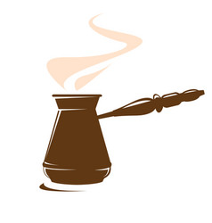 Cezve or ibrik - old coffee pot with a long handle vector