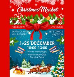Christmas market poster winter fair invitation vector