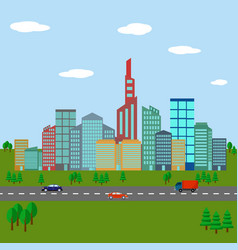 city landscape urban various buildings vector image