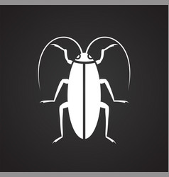 Cockroach insect icon on black background for vector