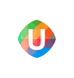colorful initial u icon vector image