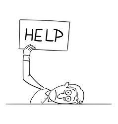 Comic cartoon tired or frustrated or sick man vector