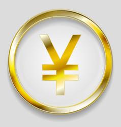 concept golden yuan symbol logo button vector image
