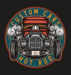 custom retro car round colorful emblem vector image